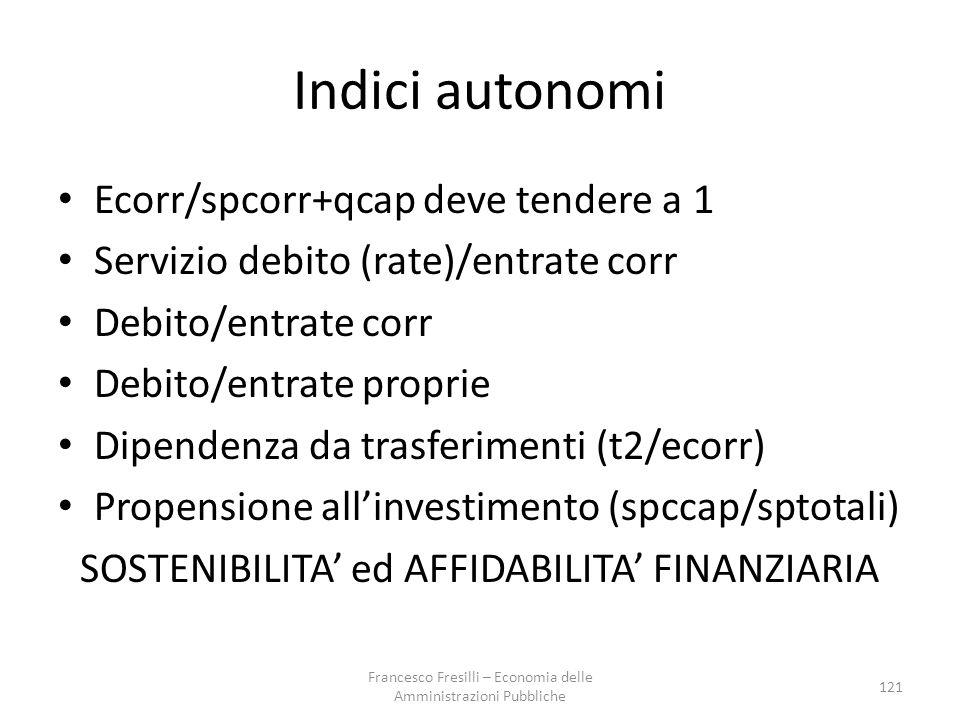 Indici autonomi Ecorr/spcorr+qcap deve tendere a 1 Servizio debito (rate)/entrate corr Debito/entrate corr Debito/entrate proprie Dipendenza da trasferimenti (t2/ecorr) Propensione all'investimento (spccap/sptotali) SOSTENIBILITA' ed AFFIDABILITA' FINANZIARIA 121 Francesco Fresilli – Economia delle Amministrazioni Pubbliche