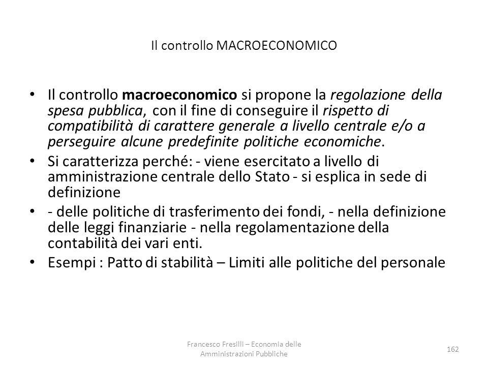 Il controllo MACROECONOMICO Il controllo macroeconomico si propone la regolazione della spesa pubblica, con il fine di conseguire il rispetto di compatibilità di carattere generale a livello centrale e/o a perseguire alcune predefinite politiche economiche.