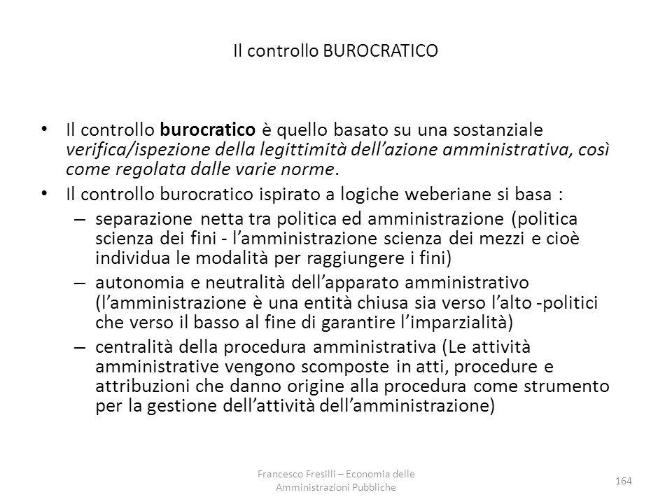 Il controllo BUROCRATICO Il controllo burocratico è quello basato su una sostanziale verifica/ispezione della legittimità dell'azione amministrativa, così come regolata dalle varie norme.