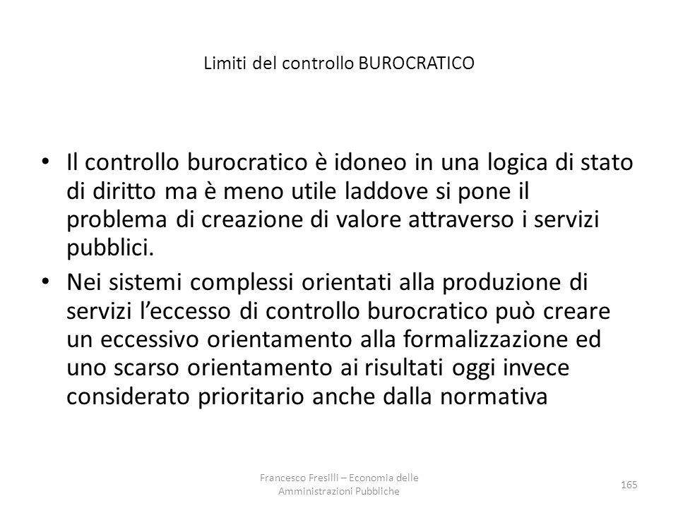 Limiti del controllo BUROCRATICO Il controllo burocratico è idoneo in una logica di stato di diritto ma è meno utile laddove si pone il problema di creazione di valore attraverso i servizi pubblici.