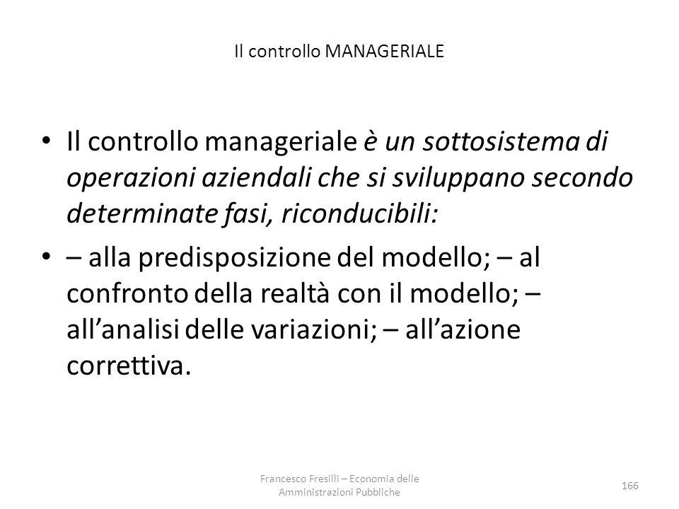 Il controllo MANAGERIALE Il controllo manageriale è un sottosistema di operazioni aziendali che si sviluppano secondo determinate fasi, riconducibili: – alla predisposizione del modello; – al confronto della realtà con il modello; – all'analisi delle variazioni; – all'azione correttiva.