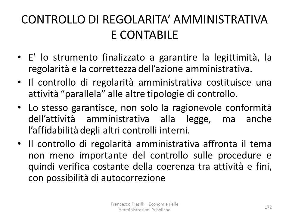 172 CONTROLLO DI REGOLARITA' AMMINISTRATIVA E CONTABILE E' lo strumento finalizzato a garantire la legittimità, la regolarità e la correttezza dell'azione amministrativa.