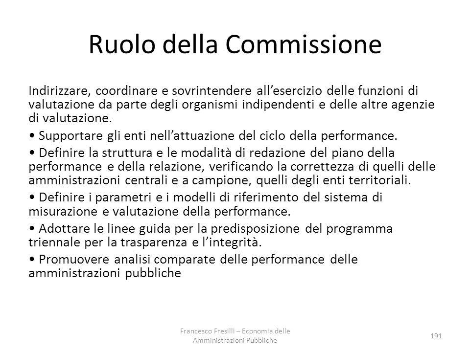 Ruolo della Commissione Indirizzare, coordinare e sovrintendere all'esercizio delle funzioni di valutazione da parte degli organismi indipendenti e delle altre agenzie di valutazione.