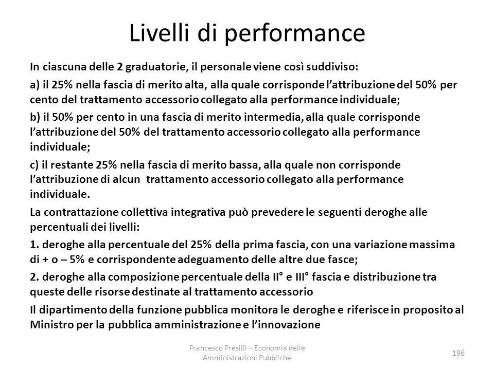 Livelli di performance In ciascuna delle 2 graduatorie, il personale viene così suddiviso: a) il 25% nella fascia di merito alta, alla quale corrisponde l'attribuzione del 50% per cento del trattamento accessorio collegato alla performance individuale; b) il 50% per cento in una fascia di merito intermedia, alla quale corrisponde l'attribuzione del 50% del trattamento accessorio collegato alla performance individuale; c) il restante 25% nella fascia di merito bassa, alla quale non corrisponde l'attribuzione di alcun trattamento accessorio collegato alla performance individuale.