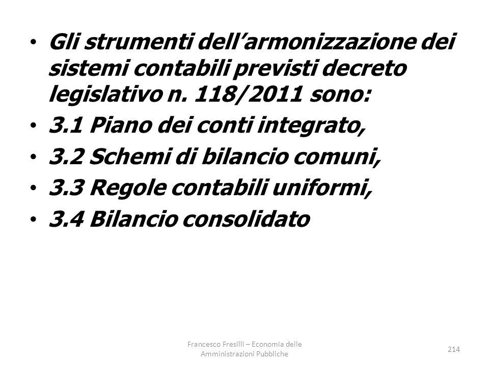 Gli strumenti dell'armonizzazione dei sistemi contabili previsti decreto legislativo n.