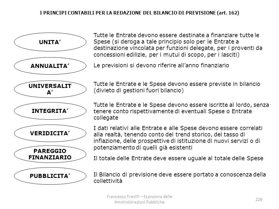 I PRINCIPI CONTABILI PER LA REDAZIONE DEL BILANCIO DI PREVISIONE (art.