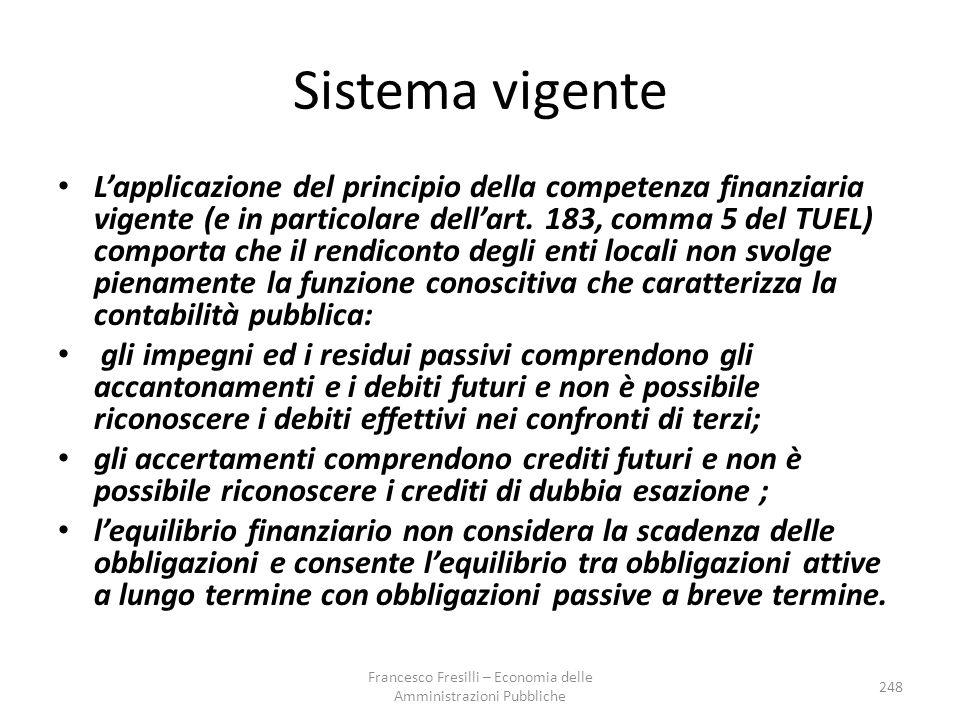 Sistema vigente L'applicazione del principio della competenza finanziaria vigente (e in particolare dell'art.