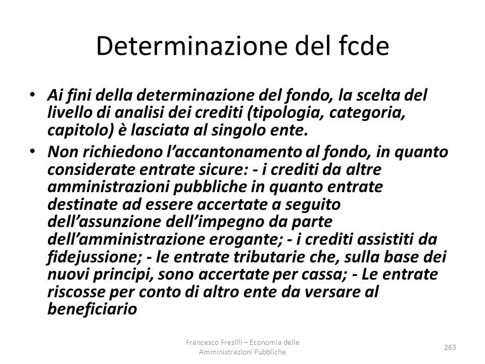 Determinazione del fcde Ai fini della determinazione del fondo, la scelta del livello di analisi dei crediti (tipologia, categoria, capitolo) è lasciata al singolo ente.