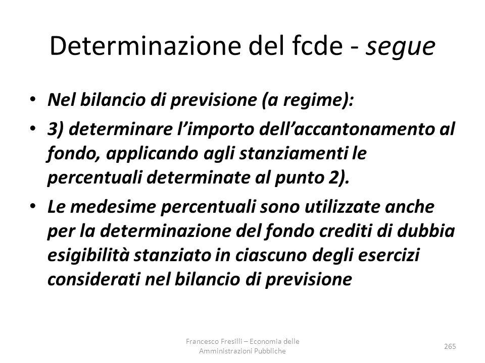 Determinazione del fcde - segue Nel bilancio di previsione (a regime): 3) determinare l'importo dell'accantonamento al fondo, applicando agli stanziamenti le percentuali determinate al punto 2).