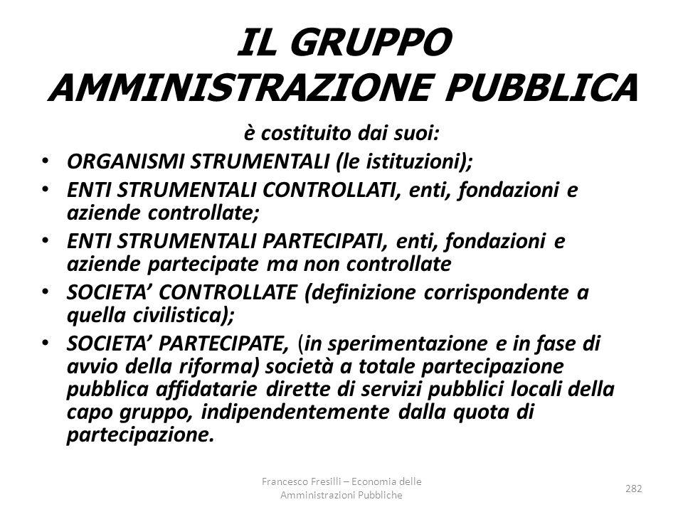 IL GRUPPO AMMINISTRAZIONE PUBBLICA è costituito dai suoi: ORGANISMI STRUMENTALI (le istituzioni); ENTI STRUMENTALI CONTROLLATI, enti, fondazioni e aziende controllate; ENTI STRUMENTALI PARTECIPATI, enti, fondazioni e aziende partecipate ma non controllate SOCIETA' CONTROLLATE (definizione corrispondente a quella civilistica); SOCIETA' PARTECIPATE, (in sperimentazione e in fase di avvio della riforma) società a totale partecipazione pubblica affidatarie dirette di servizi pubblici locali della capo gruppo, indipendentemente dalla quota di partecipazione.