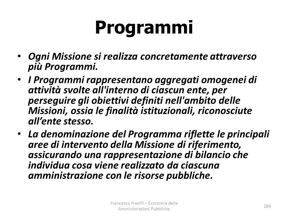 Programmi Ogni Missione si realizza concretamente attraverso più Programmi.