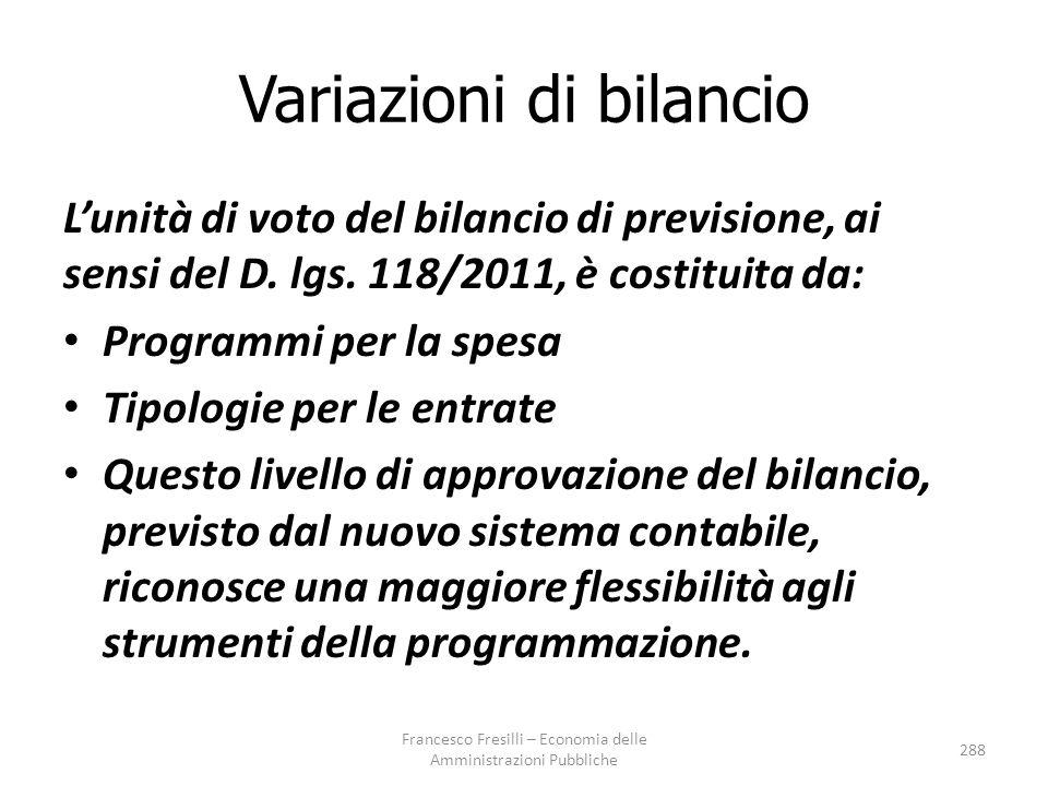 Variazioni di bilancio L'unità di voto del bilancio di previsione, ai sensi del D.