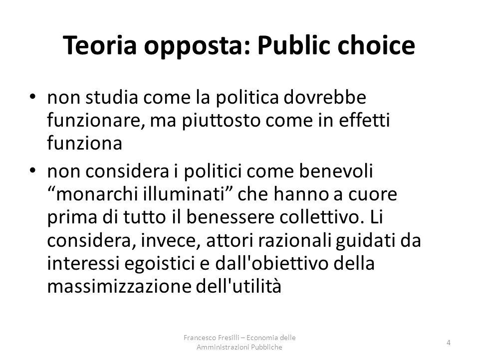 Teoria opposta: Public choice non studia come la politica dovrebbe funzionare, ma piuttosto come in effetti funziona non considera i politici come benevoli monarchi illuminati che hanno a cuore prima di tutto il benessere collettivo.