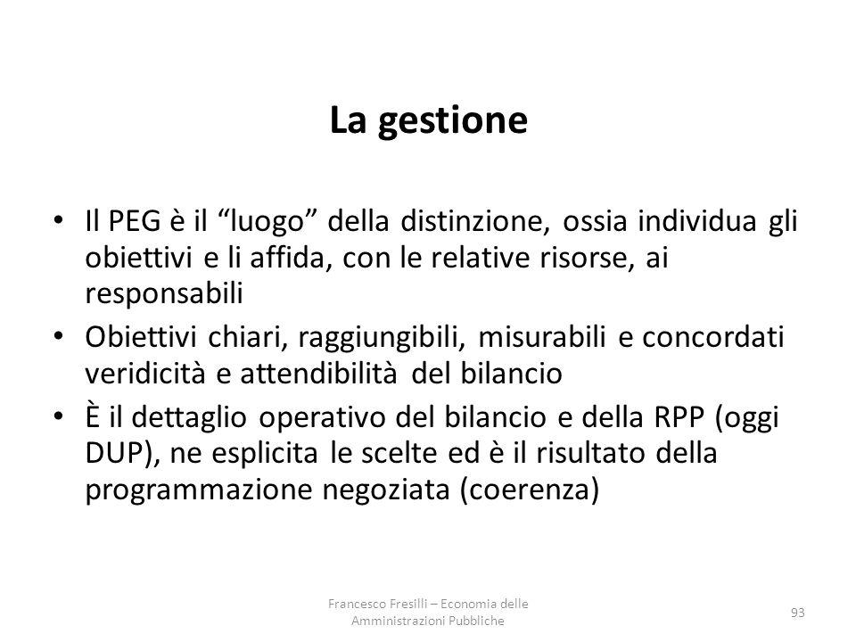 93 La gestione Il PEG è il luogo della distinzione, ossia individua gli obiettivi e li affida, con le relative risorse, ai responsabili Obiettivi chiari, raggiungibili, misurabili e concordati veridicità e attendibilità del bilancio È il dettaglio operativo del bilancio e della RPP (oggi DUP), ne esplicita le scelte ed è il risultato della programmazione negoziata (coerenza) Francesco Fresilli – Economia delle Amministrazioni Pubbliche