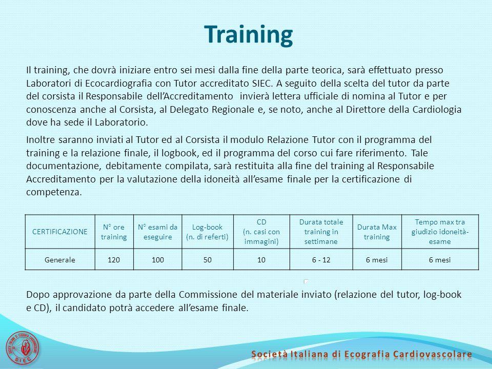 Training Il training, che dovrà iniziare entro sei mesi dalla fine della parte teorica, sarà effettuato presso Laboratori di Ecocardiografia con Tutor