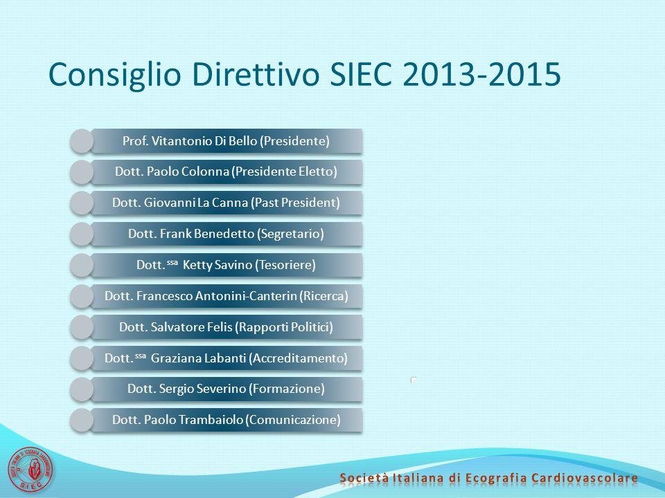 Consiglio Direttivo SIEC 2013-2015 Prof. Vitantonio Di Bello (Presidente) Dott. Paolo Colonna (Presidente Eletto) Dott. Giovanni La Canna (Past Presid