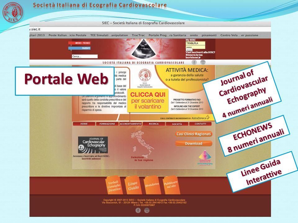 Linee Guida Interattive Journal of Cardiovascular Echography 4 numeri annuali ECHONEWS 8 numeri annuali Portale Web