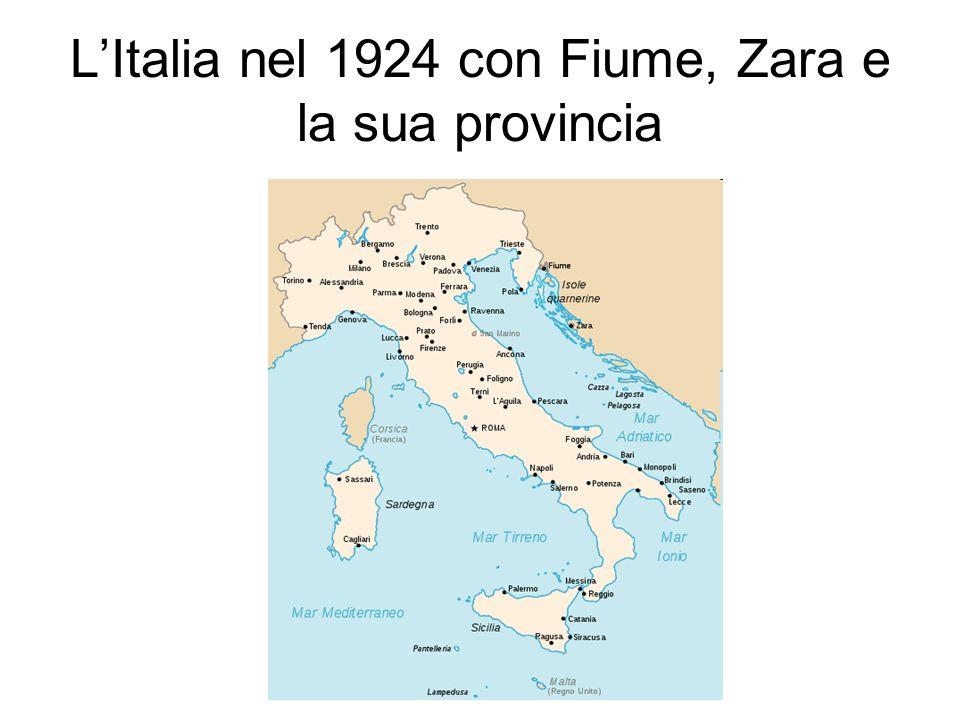 L'Italia nel 1924 con Fiume, Zara e la sua provincia