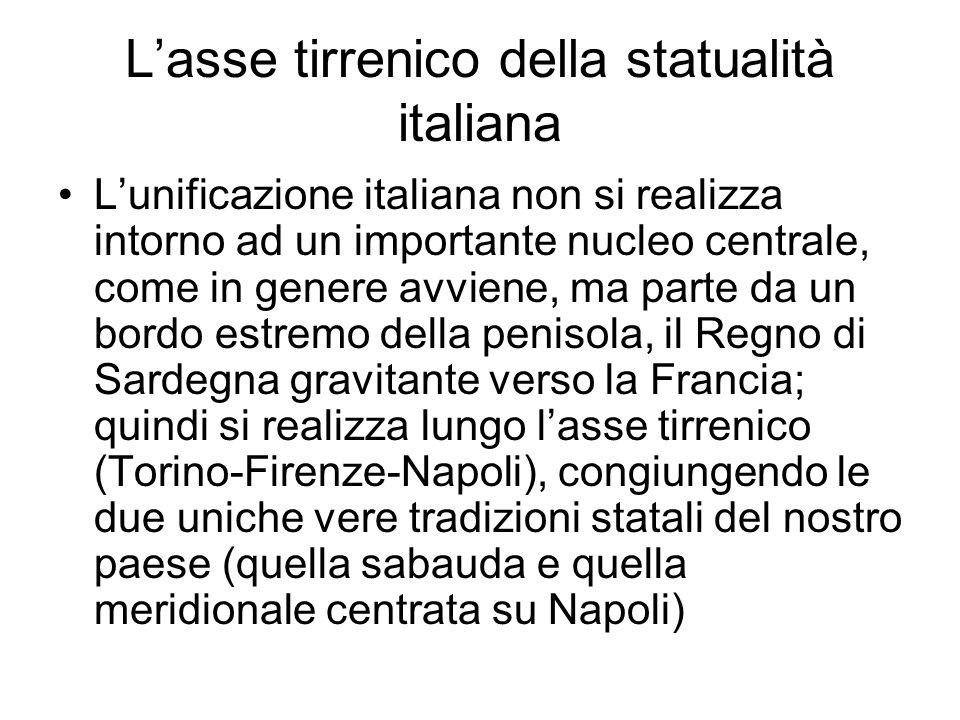 L'asse tirrenico della statualità italiana L'unificazione italiana non si realizza intorno ad un importante nucleo centrale, come in genere avviene, m