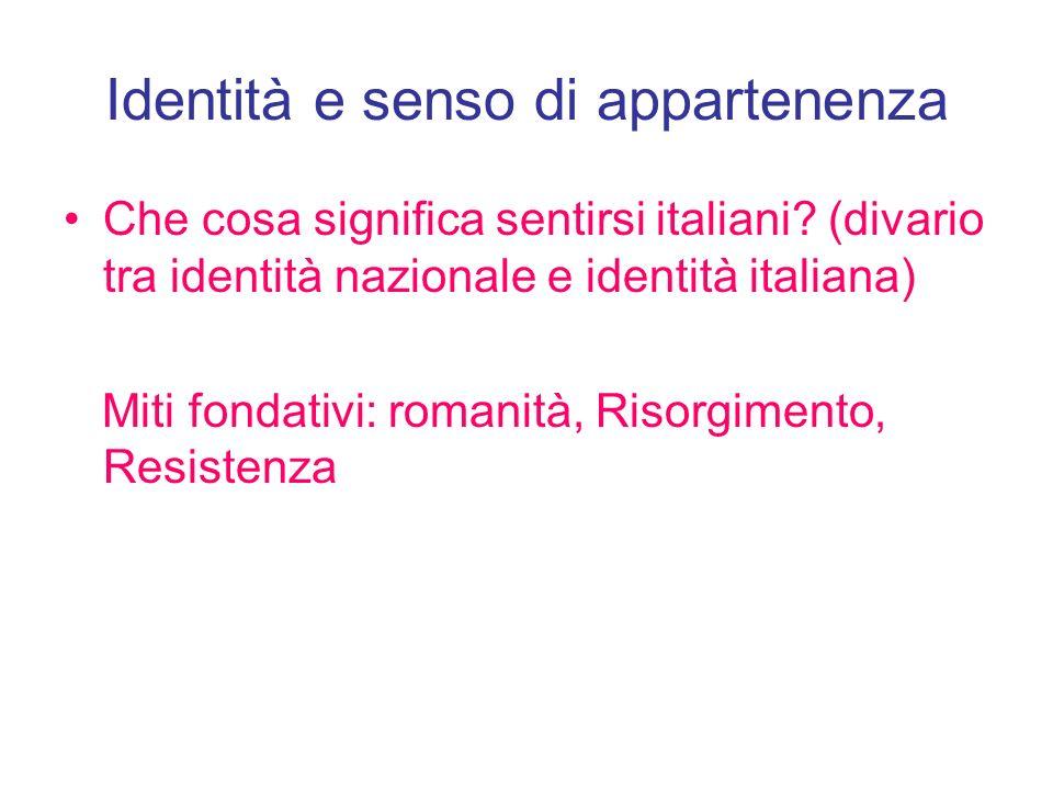 Identità e senso di appartenenza Che cosa significa sentirsi italiani? (divario tra identità nazionale e identità italiana) Miti fondativi: romanità,