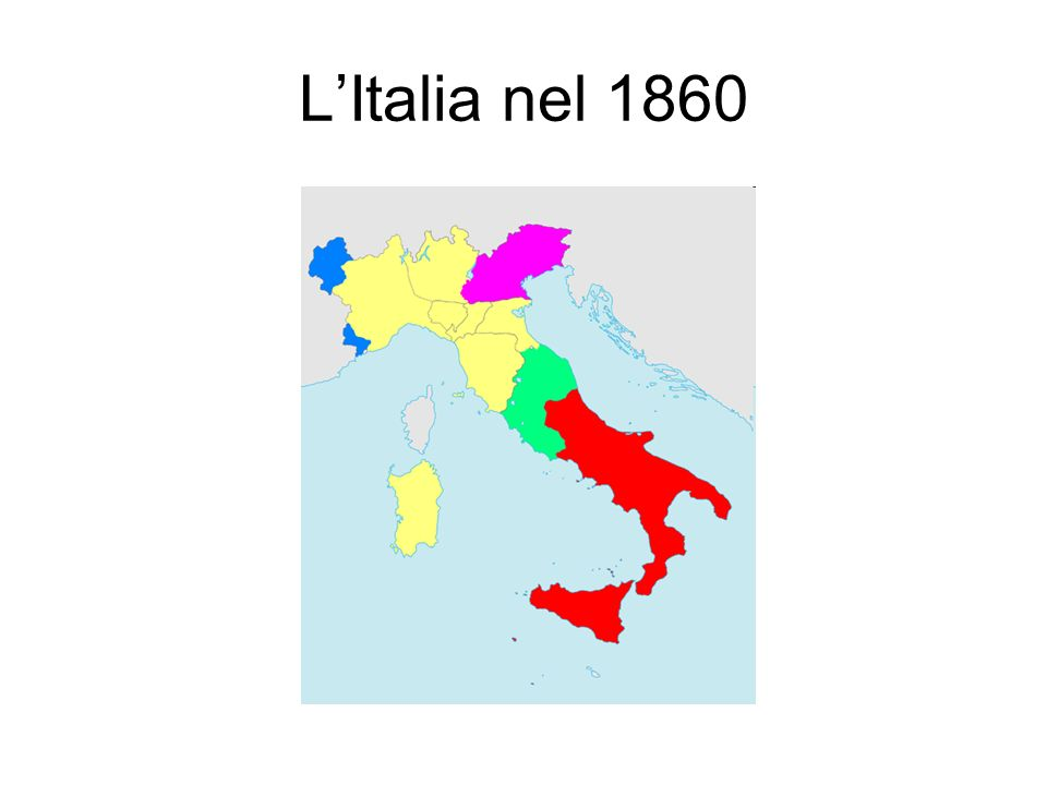 Divario tra identità nazionale e identità italiana Non solo l'unificazione italiana si compie senza un centro, ma da subito appare piuttosto debole per la diversità delle parti che la costituiscono, specie del Sud rispetto al Nord.