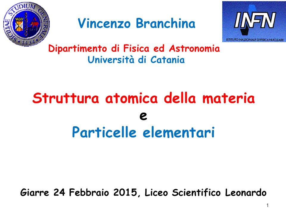 Struttura atomica della materia e Particelle elementari Giarre 24 Febbraio 2015, Liceo Scientifico Leonardo Vincenzo Branchina Dipartimento di Fisica