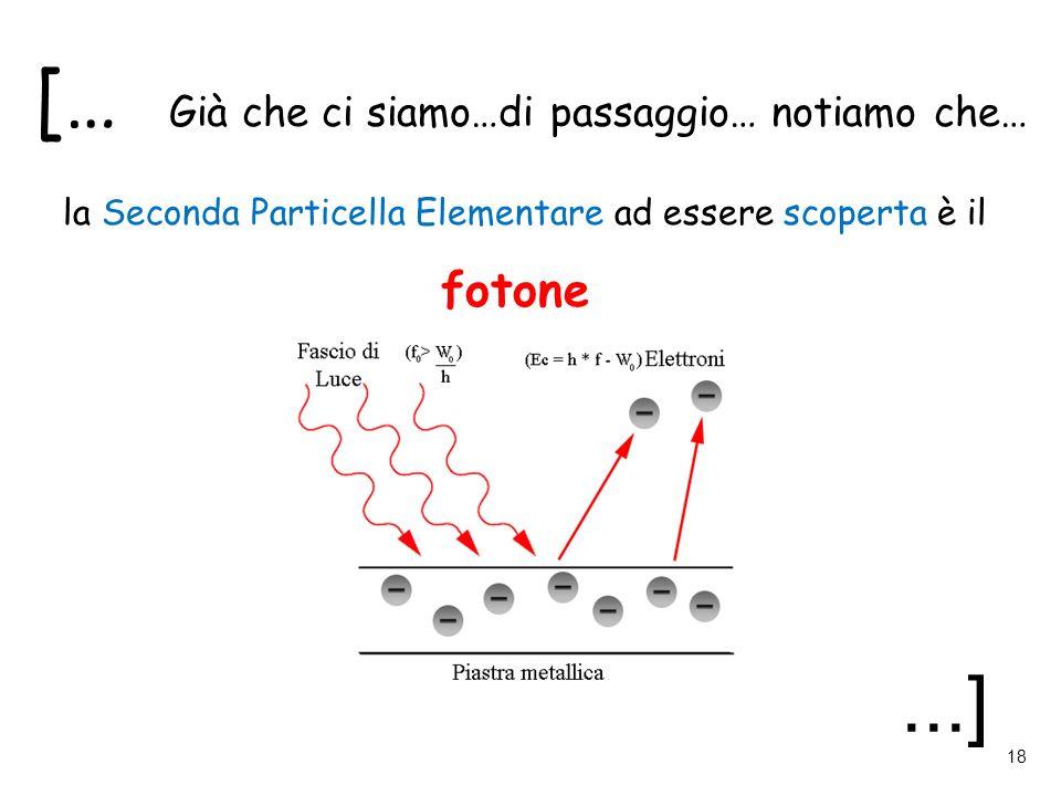 [… Già che ci siamo…di passaggio… notiamo che… la Seconda Particella Elementare ad essere scoperta è il fotone...] 18