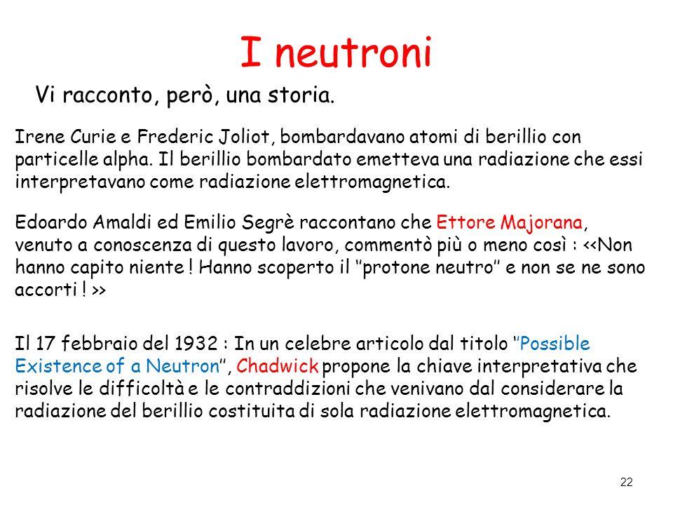 I neutroni Vi racconto, però, una storia. Irene Curie e Frederic Joliot, bombardavano atomi di berillio con particelle alpha. Il berillio bombardato e