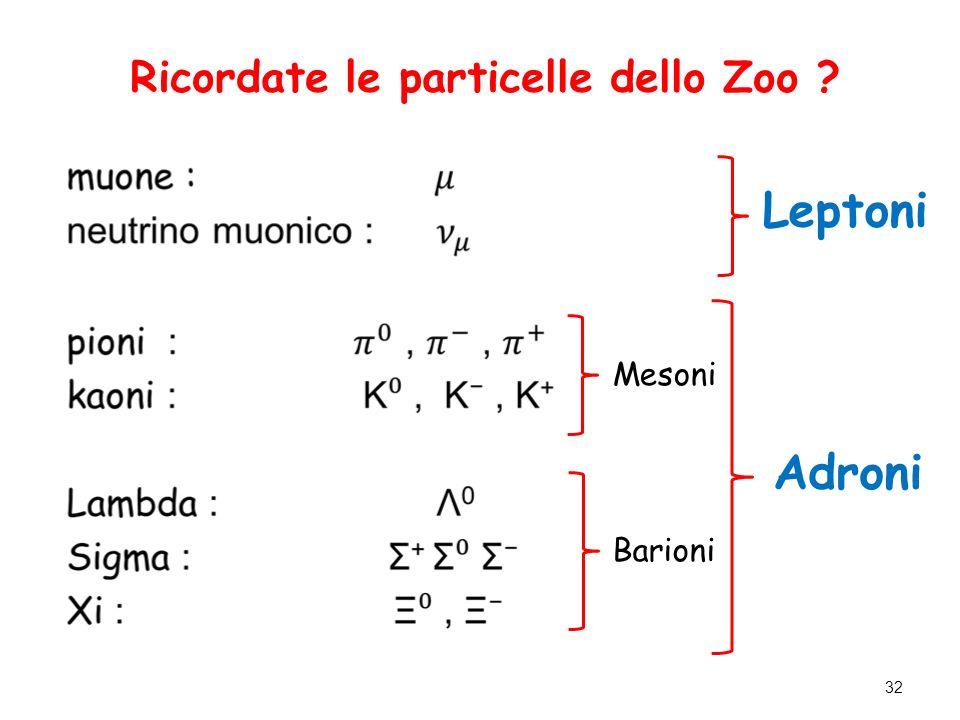 Ricordate le particelle dello Zoo ? Mesoni Leptoni Barioni Adroni 32