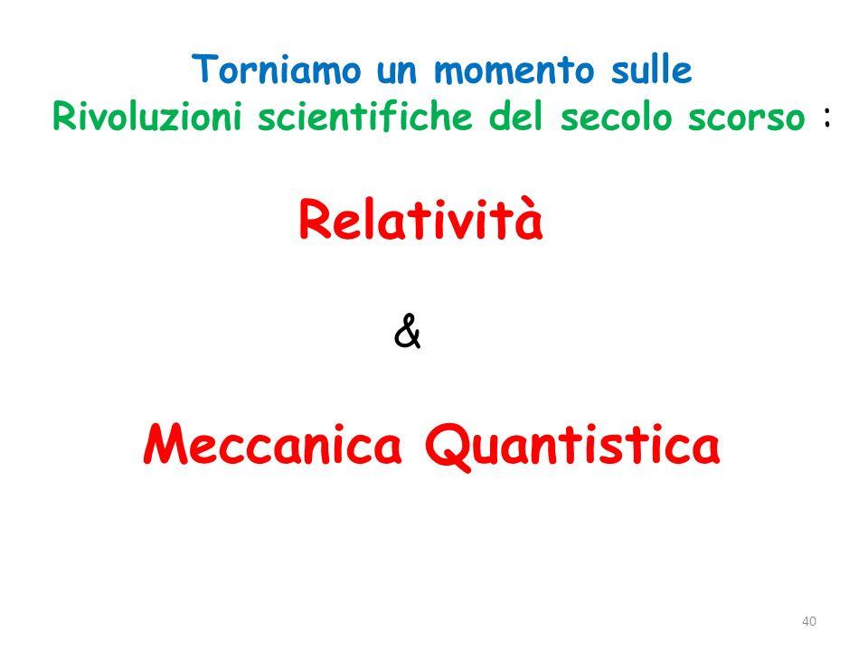 Torniamo un momento sulle Rivoluzioni scientifiche del secolo scorso : Relatività & Meccanica Quantistica 40
