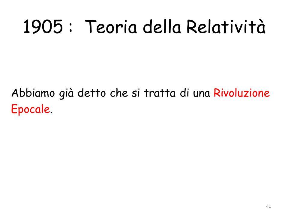 1905 : Teoria della Relatività Abbiamo già detto che si tratta di una Rivoluzione Epocale. 41