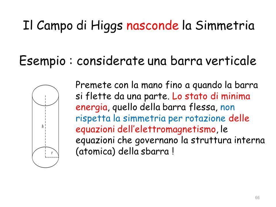 Il Campo di Higgs nasconde la Simmetria Esempio : considerate una barra verticale 66 Premete con la mano fino a quando la barra si flette da una parte