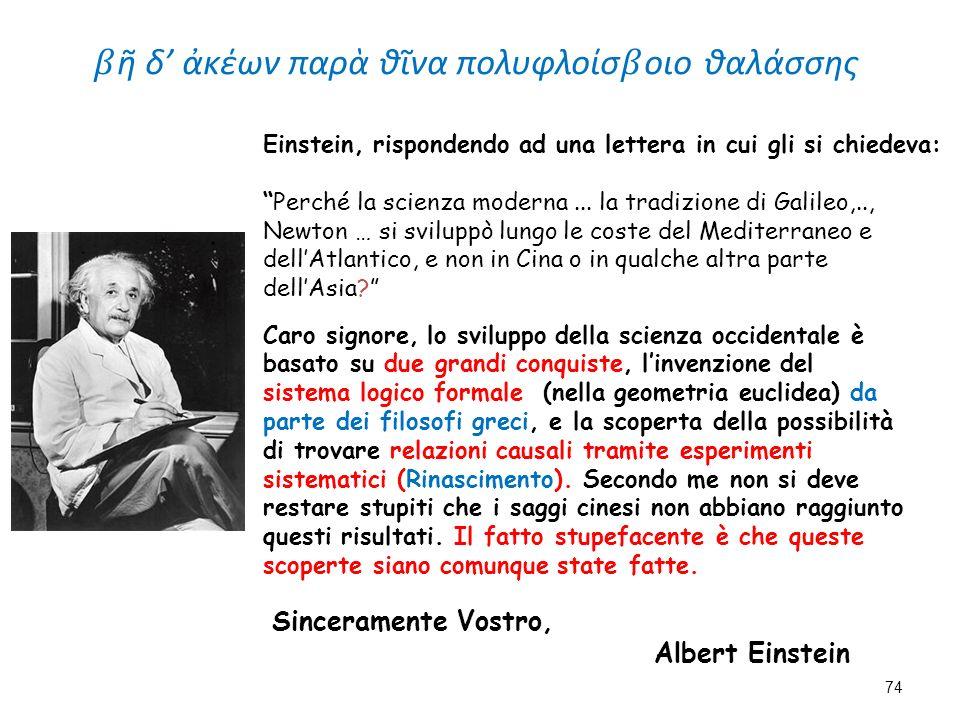 """Einstein, rispondendo ad una lettera in cui gli si chiedeva: """"Perché la scienza moderna... la tradizione di Galileo,.., Newton … si sviluppò lungo le"""