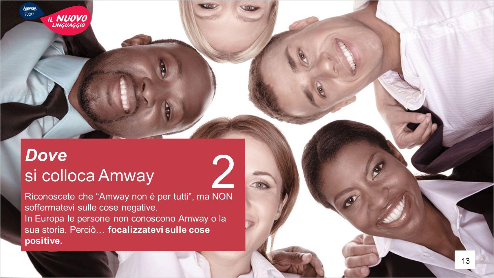 """2 Dove si colloca Amway Riconoscete che """"Amway non è per tutti"""", ma NON soffermatevi sulle cose negative. In Europa le persone non conoscono Amway o l"""