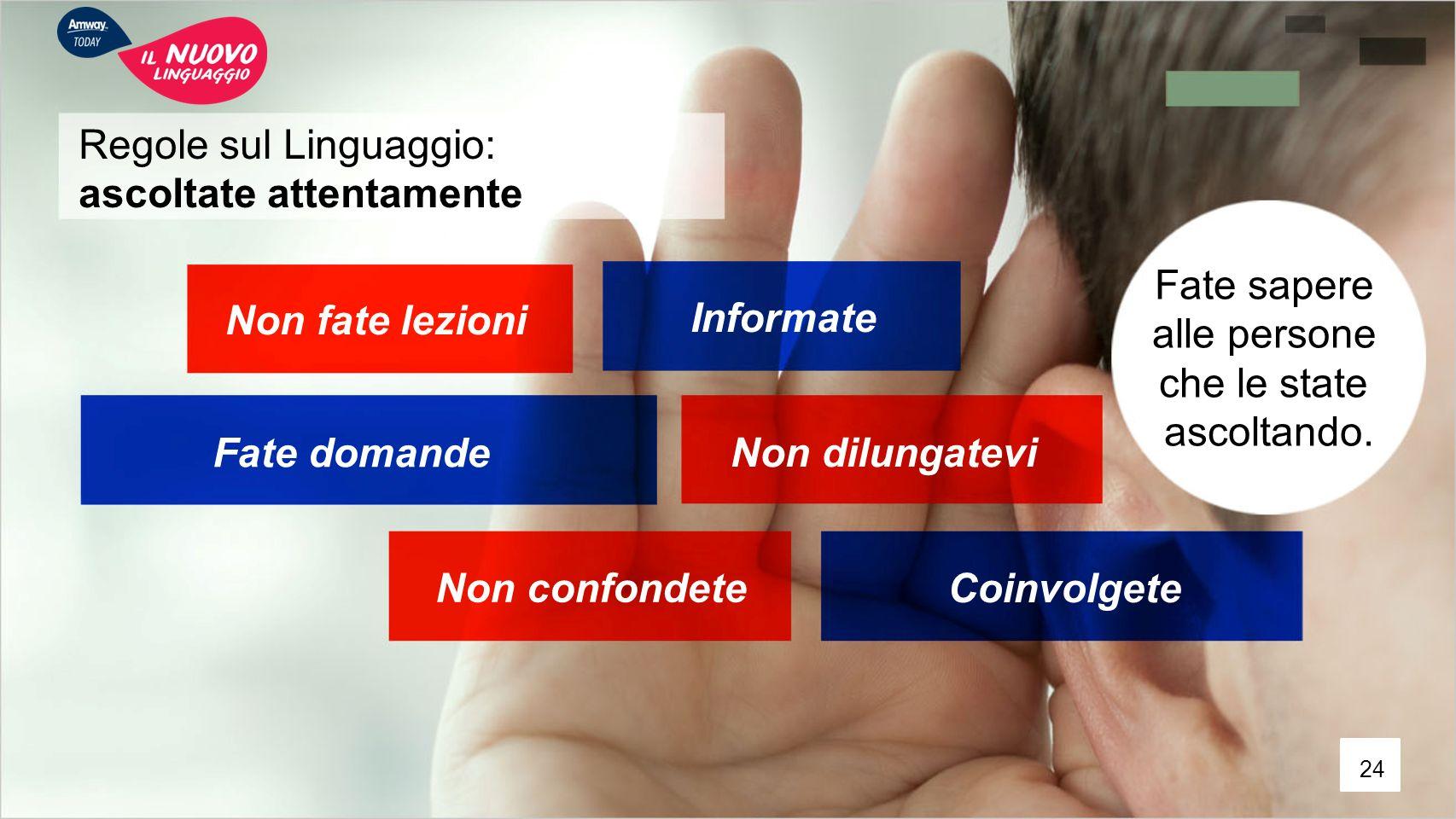Regole sul Linguaggio: ascoltate attentamente Fate sapere alle persone che le state ascoltando. Fate domande Coinvolgete Informate Non dilungatevi Non