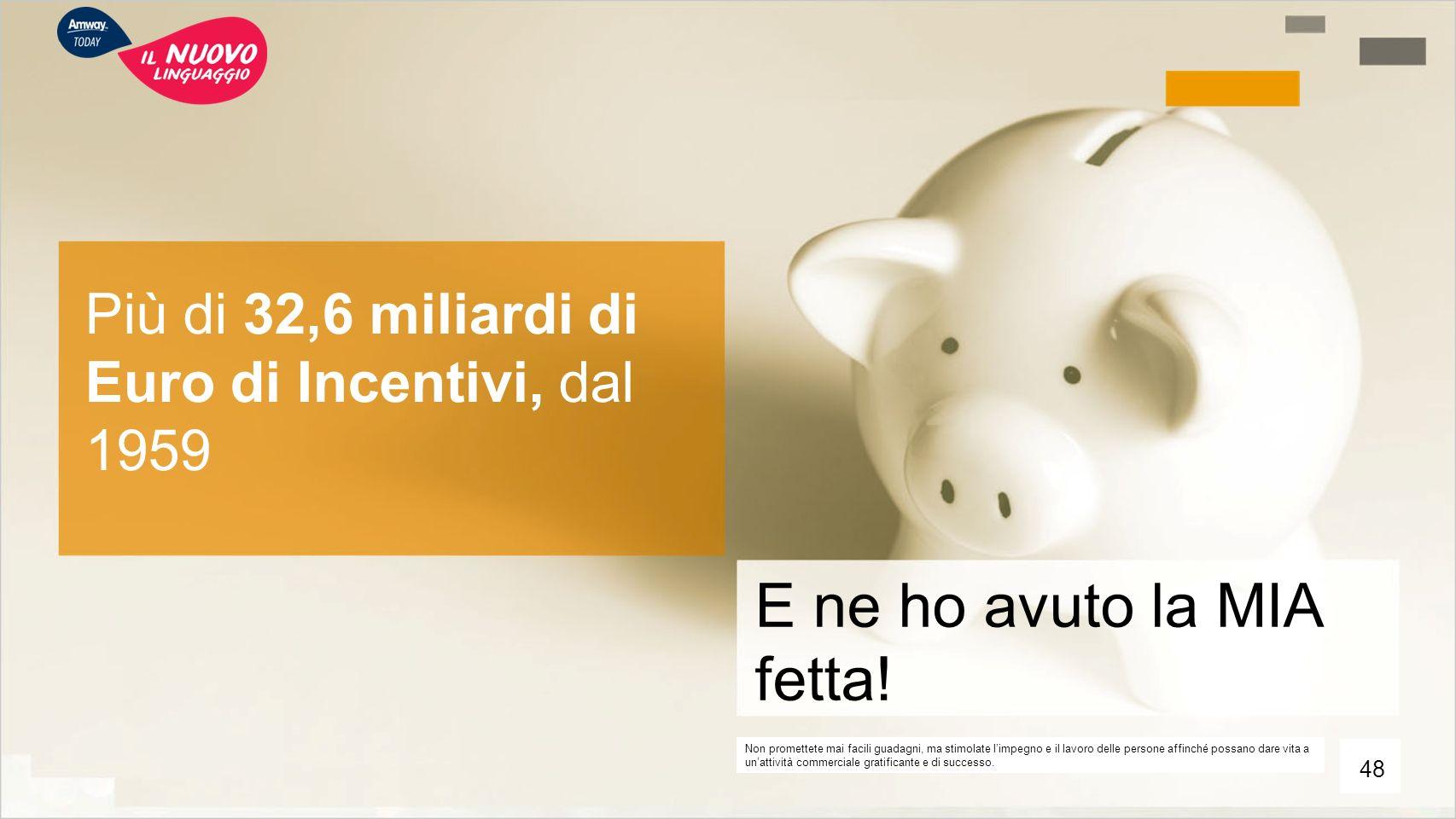 Più di 32,6 miliardi di Euro di Incentivi, dal 1959 E ne ho avuto la MIA fetta! Non promettete mai facili guadagni, ma stimolate l'impegno e il lavoro