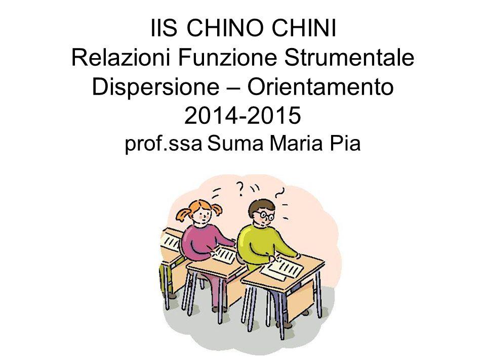 IIS CHINO CHINI Relazioni Funzione Strumentale Dispersione – Orientamento 2014-2015 prof.ssa Suma Maria Pia