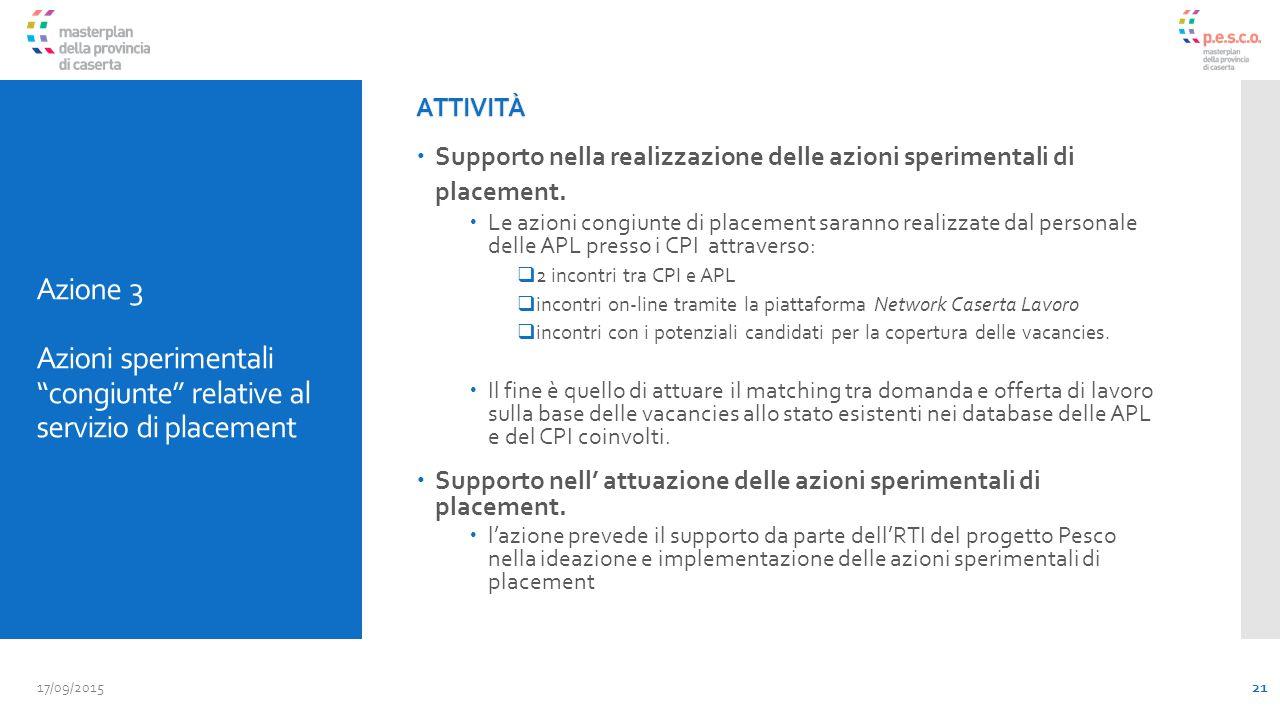 Azione 3 Azioni sperimentali congiunte relative al servizio di placement ATTIVITÀ  Supporto nella realizzazione delle azioni sperimentali di placement.