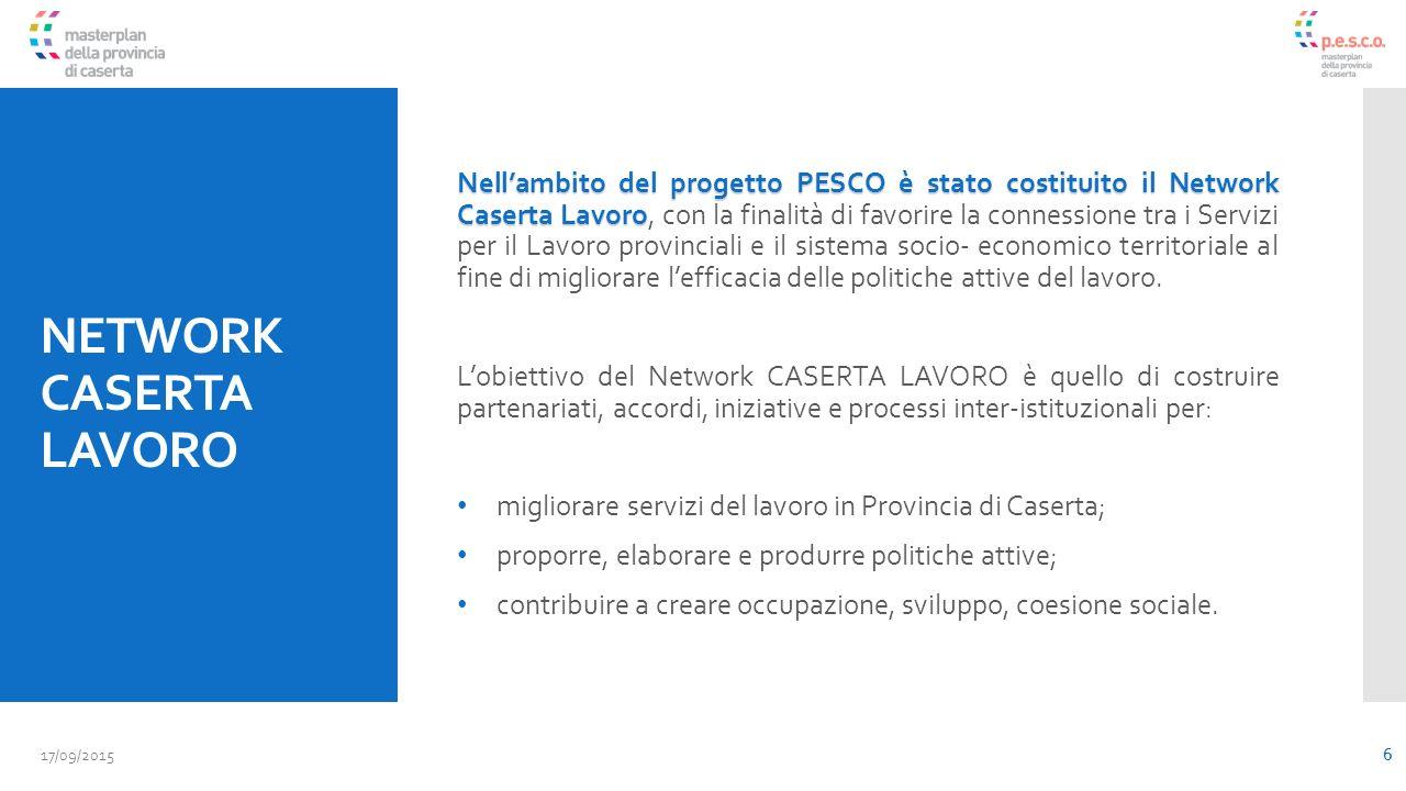 NETWORK CASERTA LAVORO Nell'ambito del progetto PESCO è stato costituito il Network Caserta Lavoro Nell'ambito del progetto PESCO è stato costituito il Network Caserta Lavoro, con la finalità di favorire la connessione tra i Servizi per il Lavoro provinciali e il sistema socio- economico territoriale al fine di migliorare l'efficacia delle politiche attive del lavoro.