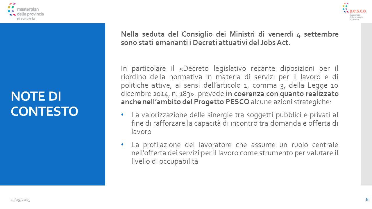 NOTE DI CONTESTO Nella seduta del Consiglio dei Ministri di venerdì 4 settembre sono stati emananti i Decreti attuativi del Jobs Act.