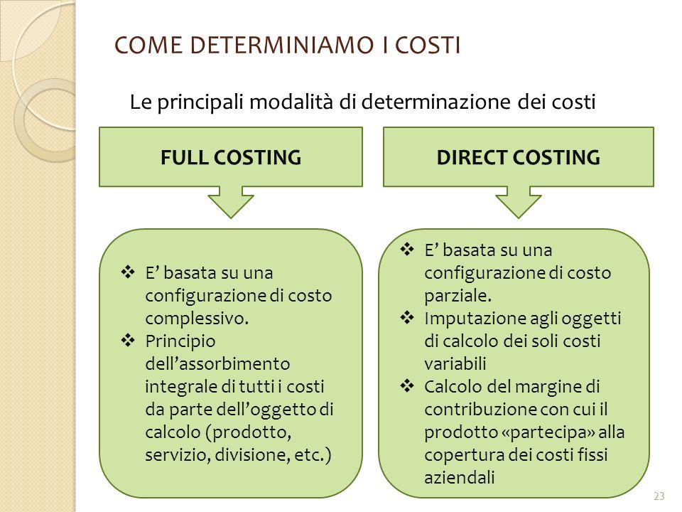 COME DETERMINIAMO I COSTI Le principali modalità di determinazione dei costi FULL COSTINGDIRECT COSTING  E' basata su una configurazione di costo com
