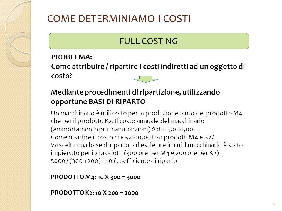 COME DETERMINIAMO I COSTI FULL COSTING PROBLEMA: Come attribuire / ripartire i costi indiretti ad un oggetto di costo? Mediante procedimenti di ripart