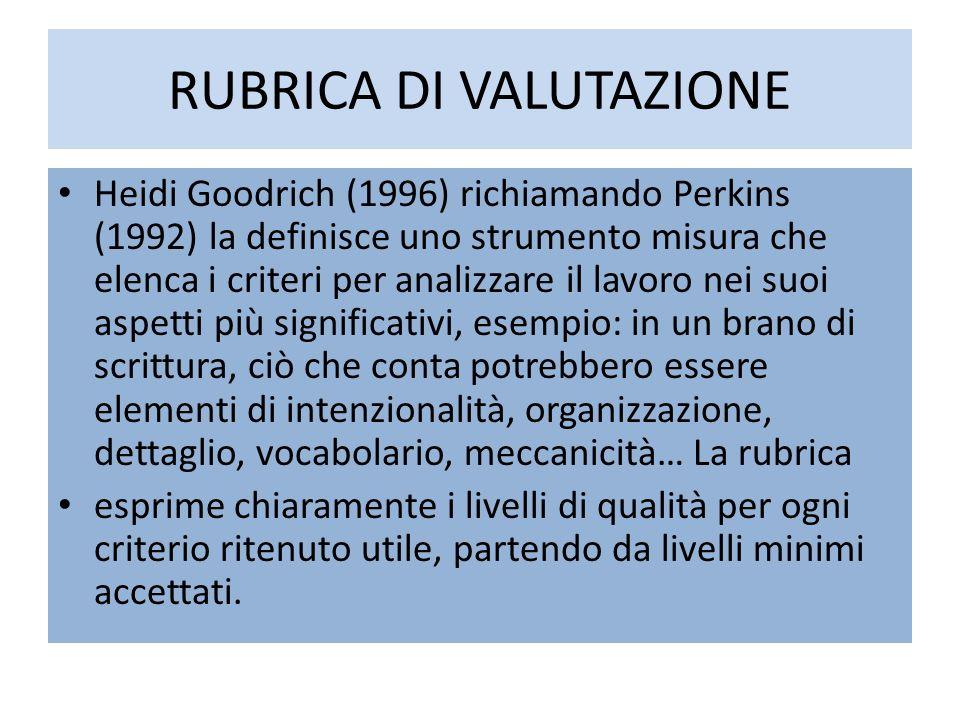 RUBRICA DI VALUTAZIONE Heidi Goodrich (1996) richiamando Perkins (1992) la definisce uno strumento misura che elenca i criteri per analizzare il lavor