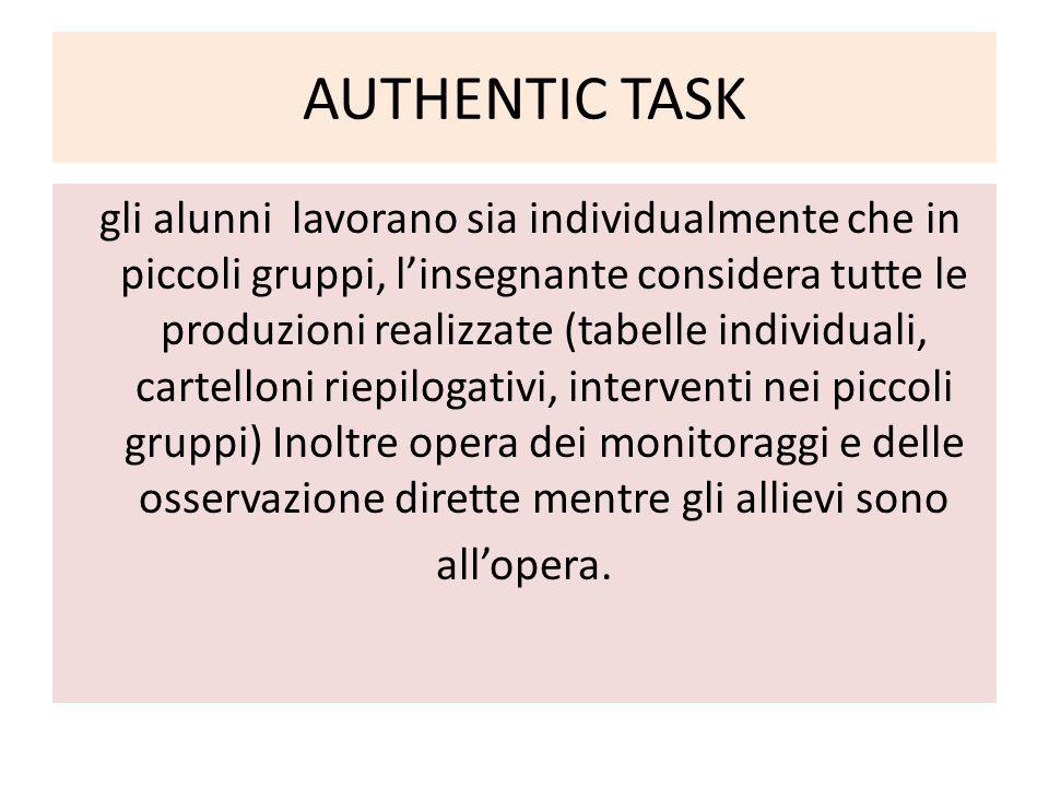 AUTHENTIC TASK gli alunni lavorano sia individualmente che in piccoli gruppi, l'insegnante considera tutte le produzioni realizzate (tabelle individua