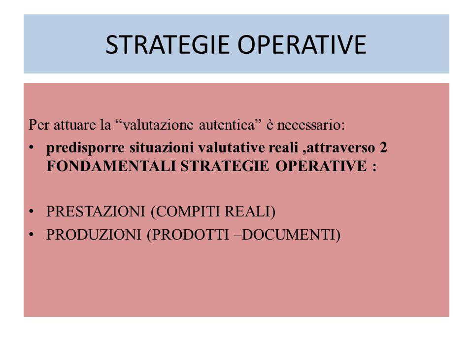 """STRATEGIE OPERATIVE Per attuare la """"valutazione autentica"""" è necessario: predisporre situazioni valutative reali,attraverso 2 FONDAMENTALI STRATEGIE O"""
