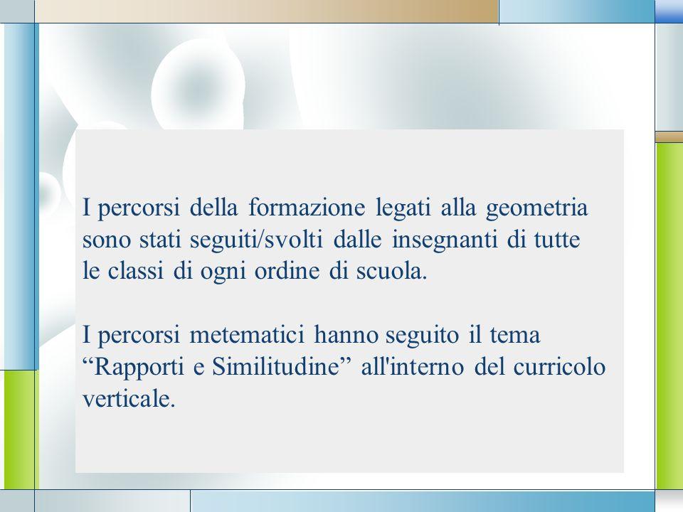 LOGO I percorsi della formazione legati alla geometria sono stati seguiti/svolti dalle insegnanti di tutte le classi di ogni ordine di scuola. I perco