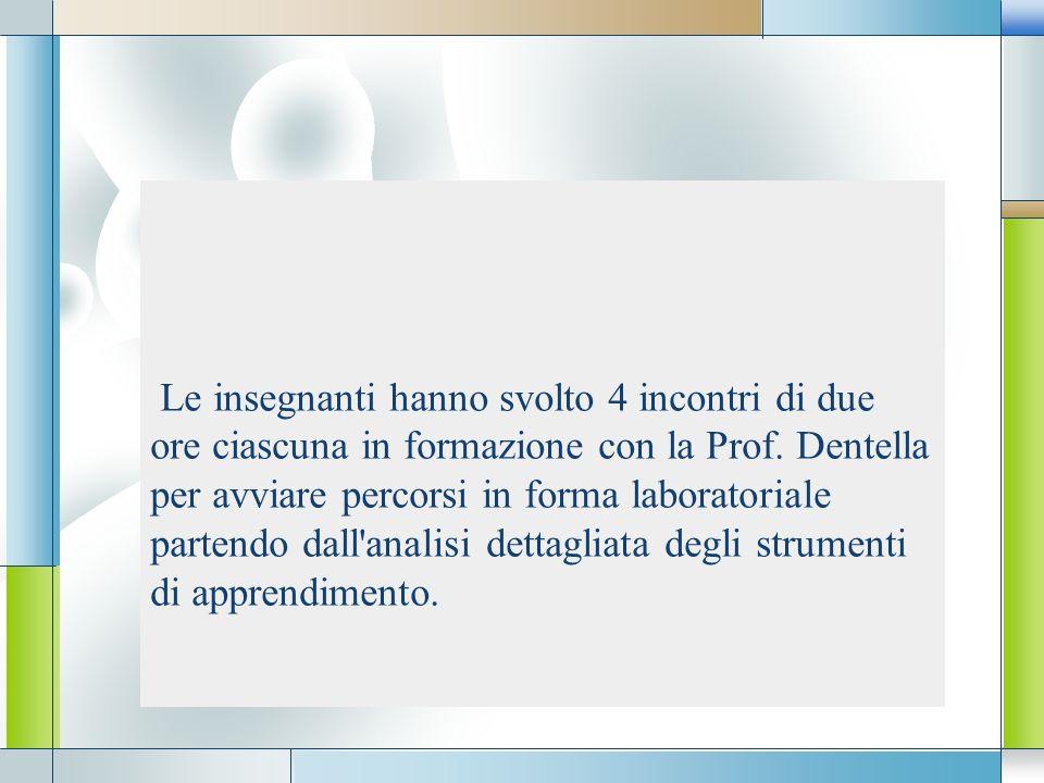 LOGO Le insegnanti hanno svolto 4 incontri di due ore ciascuna in formazione con la Prof. Dentella per avviare percorsi in forma laboratoriale partend