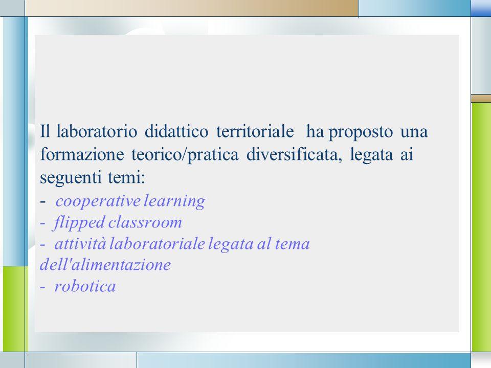 LOGO Il laboratorio didattico territoriale ha proposto una formazione teorico/pratica diversificata, legata ai seguenti temi: - cooperative learning -