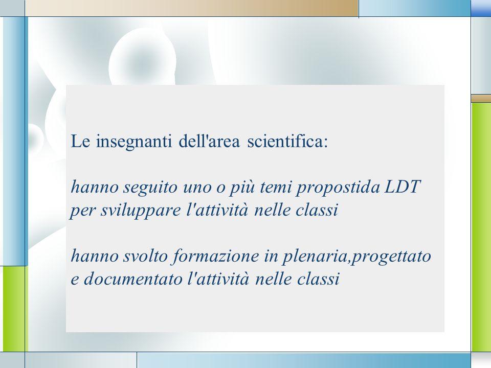 LOGO Le insegnanti dell'area scientifica: hanno seguito uno o più temi propostida LDT per sviluppare l'attività nelle classi hanno svolto formazione i