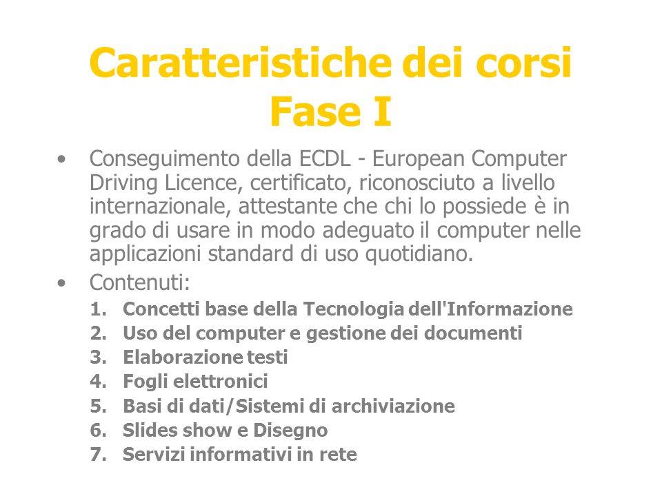 Caratteristiche dei corsi Fase I Conseguimento della ECDL - European Computer Driving Licence, certificato, riconosciuto a livello internazionale, attestante che chi lo possiede è in grado di usare in modo adeguato il computer nelle applicazioni standard di uso quotidiano.